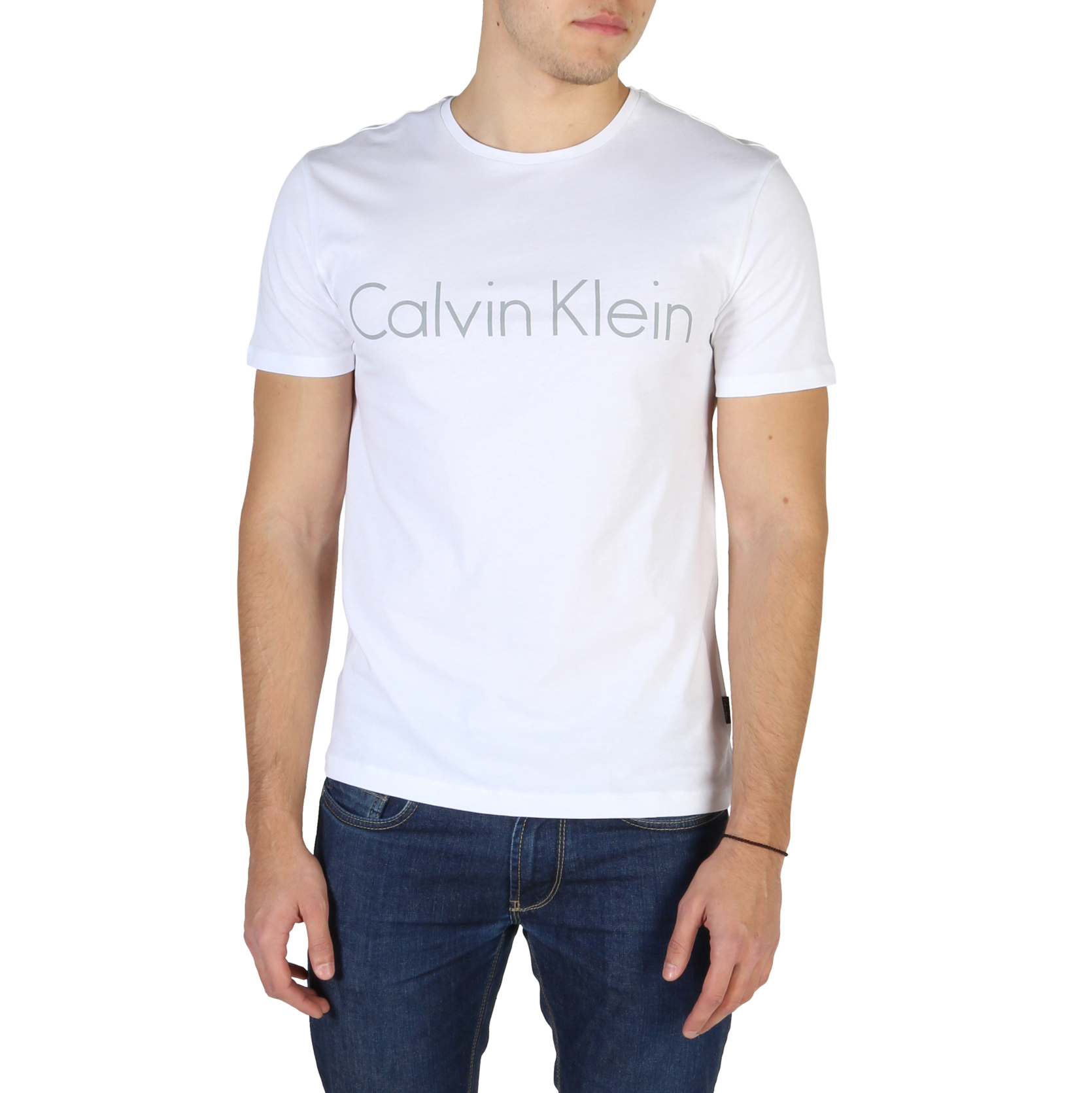 T-SHIRT-Calvin-Klein-K10K100410-Uomo-Bianco-104182-CASUAL-VINTAGE