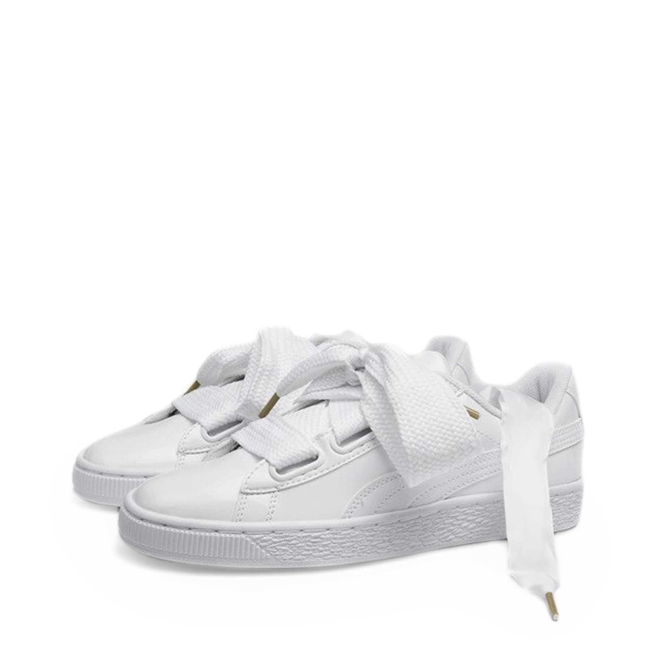 Scarpe-Puma-Donna-363073-BasketHeartPatent-Sneakers-Rosa-Bianco miniatura 3