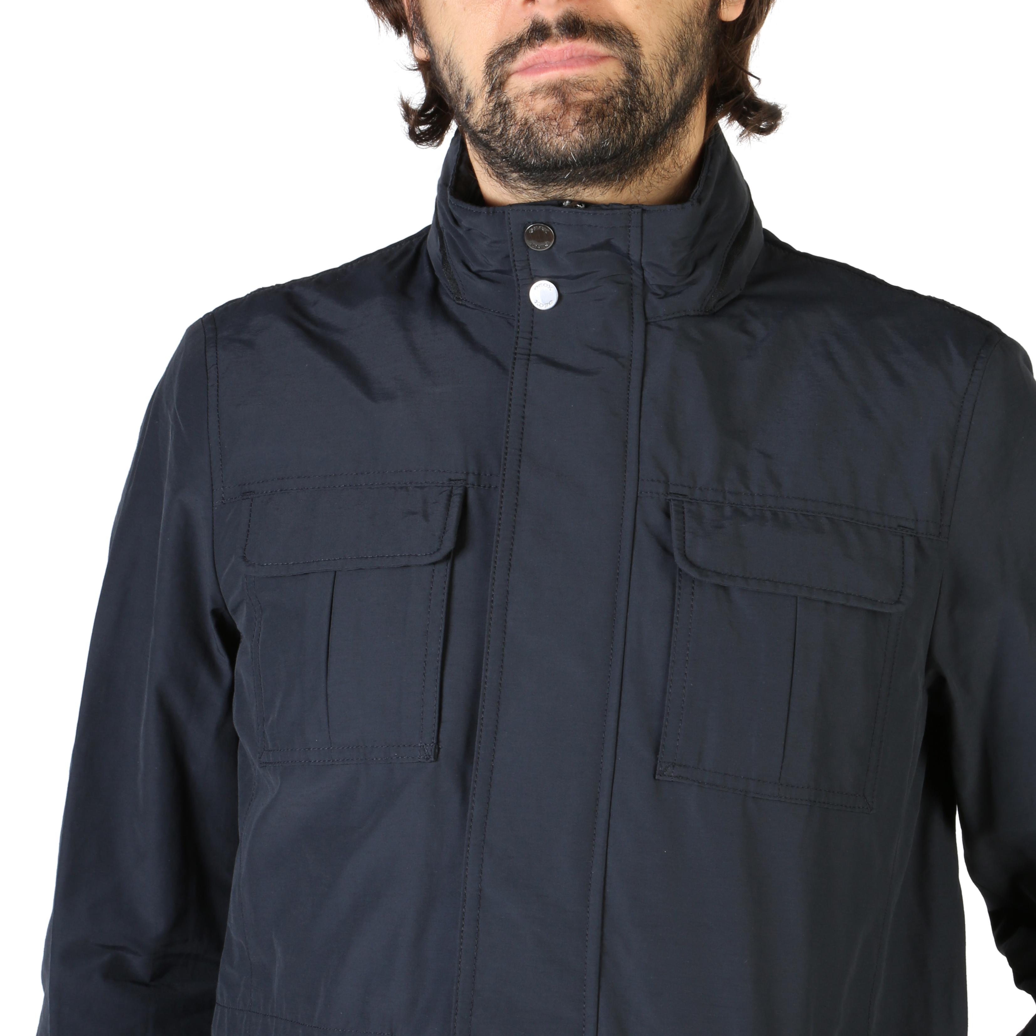 Geox-m8220ft2473-UOMO-BLU-106700-di-transizione-giacca-cotone-cappuccio-fruhlingsjac miniatura 3