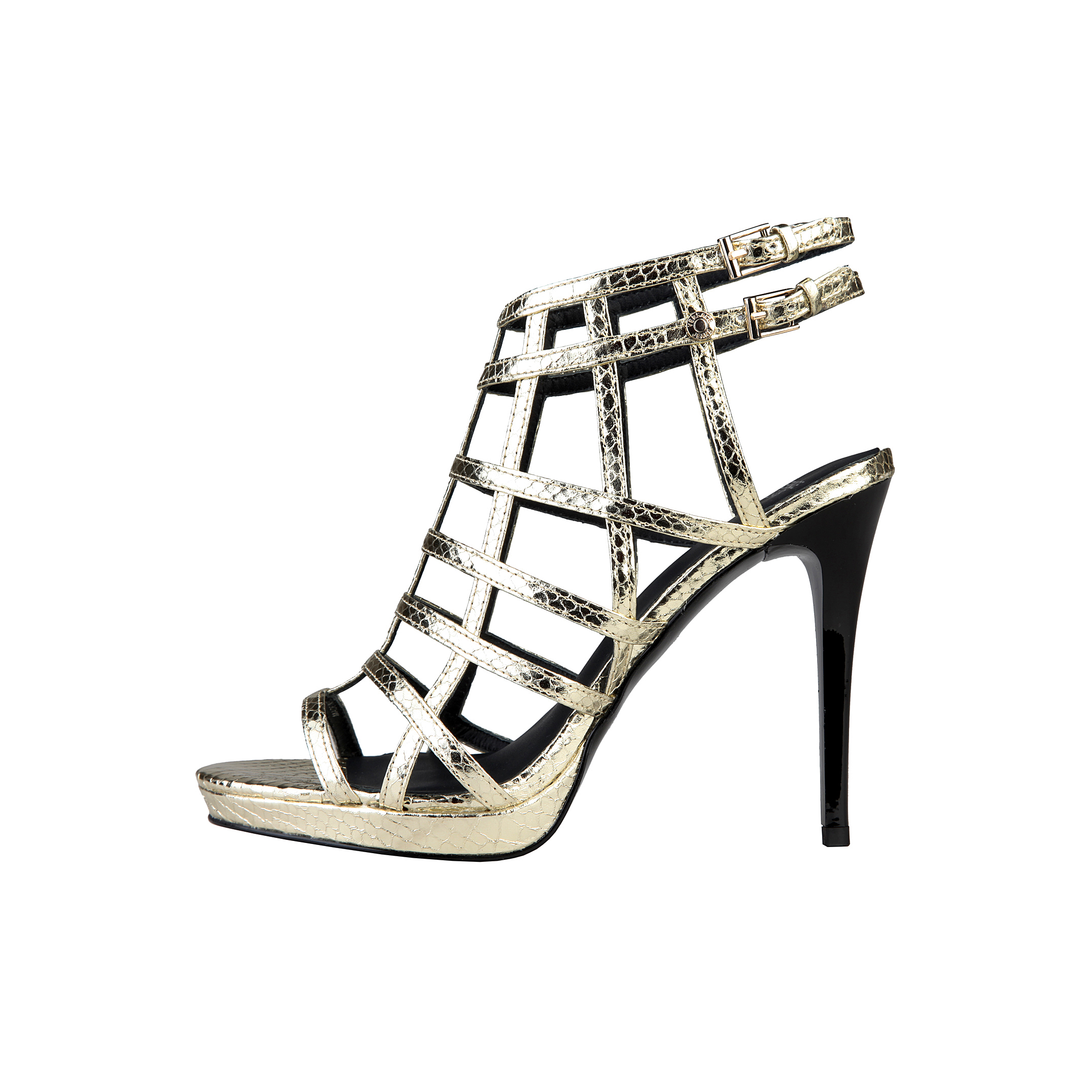 Versace Jeans  - Zapatos para mujer  - Sandalia con cierre lateral con hebilla -100% PU pitón  - Pl
